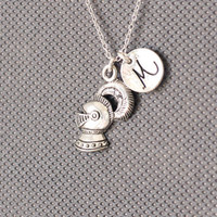 Knight's Helmet Necklace. Suit of Armor Charm. Personalized Initial Necklace. friendship jewelry.Sterling Silver Necklace. No.183