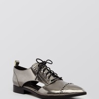 Elie Tahari Pointed Toe Lace Up Oxford Flats - Oakly