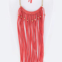 Long Fringe Suede Bib Necklace