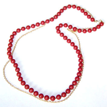Red Beaded Strand & Gold Chain Multi Strand Necklace - Brick Red, Indian Red