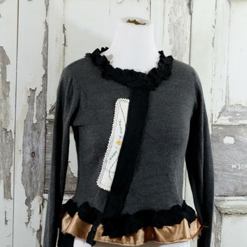 Grey and Black Artsy Upcycled Sweater Eco Fashion Women's Boho Chic Steampunk Style Shabby Chic in Large