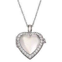 Women's Polished Heart Locket with Pave Cubic Zi... : Target