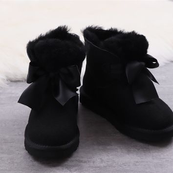 Ugg winter bow-knot boots women's black shoes