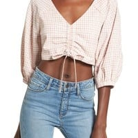 Chriselle x J.O.A. Ruched Front Crop Top | Nordstrom