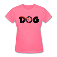 Dog Paw Women Awesome t shirt  Paques Design Custom t-shirt GF Tops Classic O-neck