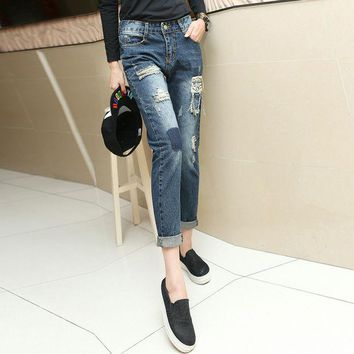 ONETOW New 2016 Fashion Ripped Jeans Woman Casual Women Denim Trousers Pencil Pants Destroyed Pantalones Brand Slim Female Plus Size