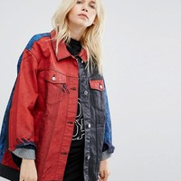 Cheap Monday Oversized Colour Block Painted Denim Jacket at asos.com
