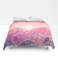 Lines in the mountains XXI Comforters by Viviana Gonzalez