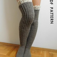 Knee high socks with lace tops by Beatifico - Craftsy