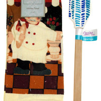 Kitchen Towel Chef Cafe Scene 15x25 Blue White Silicone Spatula Gift Set of 2