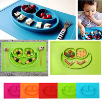2.5cm*25cm*37.5cm 3 Grids Silicone Baby Dishes for Children Training Plate Multicolor Baby Placemat Infant Tableware 5Colors