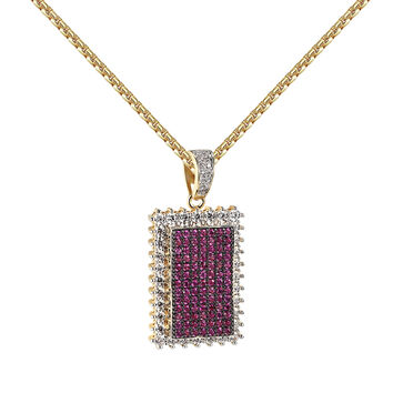 Iced Out Dog Tag Prong Set Pendant Pink Simulated Diamonds 14k Gold Finish 24""