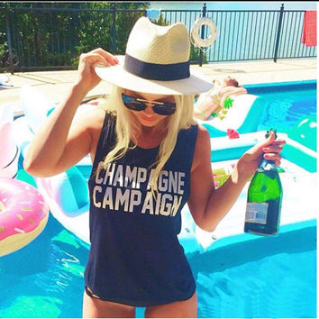 """Navy """"Champagne Campaign"""" Tank Top"""