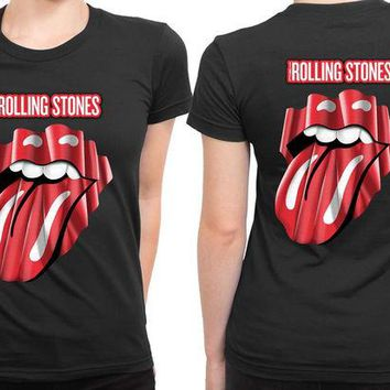 DCCKL83 The Rolling Stones Logo Four Teen On Fire 2 Sided Womens T Shirt
