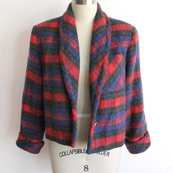 Vintage 80s Plaid Fluffy Knit Cropped Jacket // Women's Cozy Blazer S / M