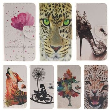 DEEVOLPO Leather Cases For Apple iPhone 8 7 Plus 4S 5C 5S SE 6S Flip Phone Bags For Touch 5 6 Wolf Tree Flowers Book Covers DP42