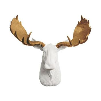 The Alberta | Moose Head | Faux Taxidermy | White + Bronze Antlers Resin