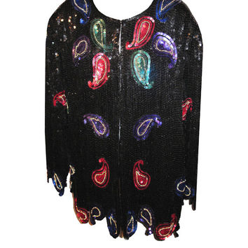 Vintage Scala Sequined Evening Jacket with Paisley Motif - Size XLarge