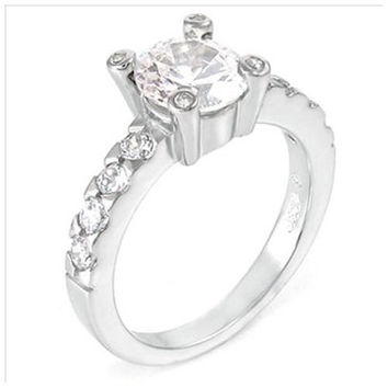 Sterling Silver 1.5 carat Round Cut CZ Vintage Style Engagement Ring size 5-9