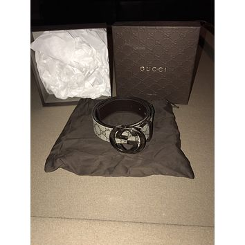 Gucci - Men's GG Supreme Belt With G Buckle - Size 36 / 90