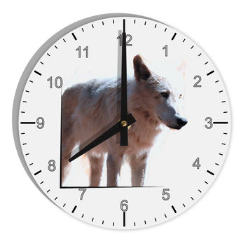 "Magnificent Full White Wolf 8"" Round Wall Clock with Numbers"