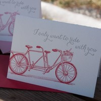 Ladybug Press: Love Tandem Bike Letterpress Card & Envelope, in Red or Pink