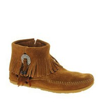 Minnetonka Concho Feather Side Zip Brown Ankle Boots at asos.com