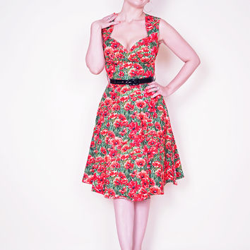 Perfect Pin Up Dress in Red Poppy print