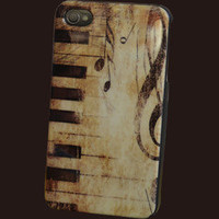 Vintage Piano Musical Note Pattern Hard Case Back Cover For Apple IPhone 4 4S
