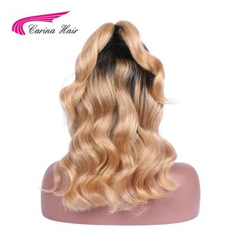 Carina Brazilian Non-Remy Hair Ombre 1b/27 Color Body Wave Full Lace Human Hair Wigs With Baby Hair Middle Part Natural Hairline