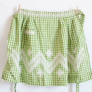 Vintage Green Gingham Apron, Hand Embroidered Half Apron, 1950s Farmhouse Decor