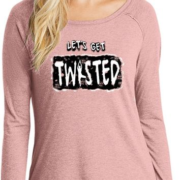 Womens Yoga T-shirt Lets Get Twisted Long Sleeve Tunic