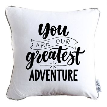 You Are Our Greatest Adventure Decorative Throw Velvet Pillow w/ Silver & White Reversible Sequins   COVER ONLY (Inserts Sold Separately)
