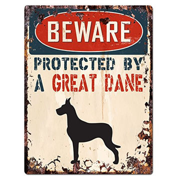 "BEWARE PROTECTED BY A GREAT DANE Chic Sign Vintage Retro Rustic 9""x12"" Metal Plate Home Room Door Wall Decoration"