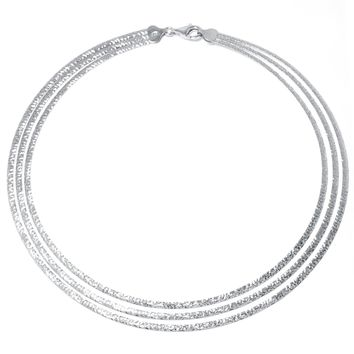 Sterling Silver Diamond-Cut Triple Strand Necklace