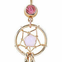 Pink and Gold Dream Catcher Feather Belly Button Ring Dangle Chain Barbell Navel Piercing
