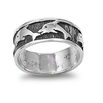 925 Sterling Silver Around the World Dolphins Ring