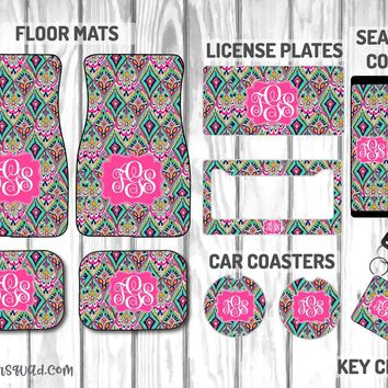 Lilly Pulitzer Crown Jewels Car Mat /Plate & Frame / Seat belt cover / Key Chain / Car Coaster / Car Accessory Gift  Set