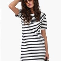 Sheinside Women's Black White Striped Short Sleeve Straight Dress