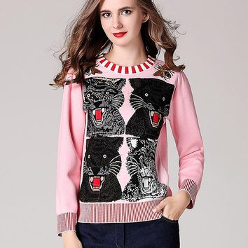 Autumn Winter New Female Cute Tiger Applique Sequins Crew Neck Embroidery Animal Jersey Jumper Coat Sweater Pullover
