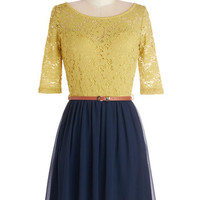 ModCloth Mid-length Short Sleeves A-line What a Delight Dress