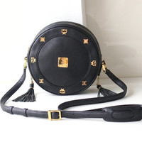 MCM Bag Tambourine Black Leather shoulder handbag authentic vintage