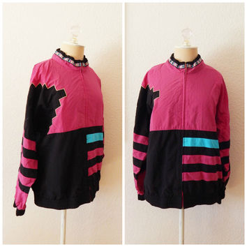 Vintage 80s Windbreaker Black Pink Nu Wave Festival Jacket Medium