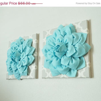 Mothers Day Sale Two Home Decor Wall Art Aqua Dahlias On Neutral Gray Tarika Print