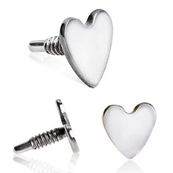 316L Surgical Steel Externally Threaded Heart for Internally Threaded Labret