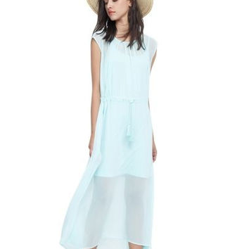 Light Blue Sheer Overlay Drawstring Waist Maxi Dress