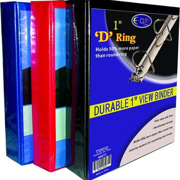 """D Ring Binder - 1"""" - Assorted Colors - CASE OF 48"""