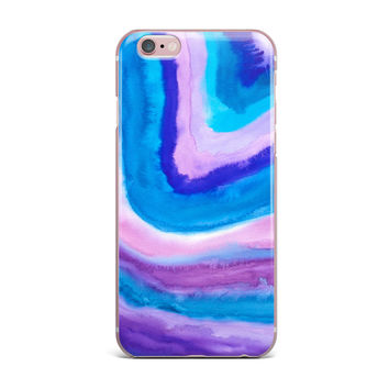 """Viviana Gonzalez """"Agate Inspired Watercolor Abstract"""" Blue Purple Watercolor iPhone Case"""