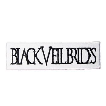 """BLACK VEIL BRIDES Iron On Embroidered White Patch 4.7""""/12cm"""