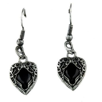 ac spbest Black Stone Heart Wings Earrings Gothic Jewelry Cosplay